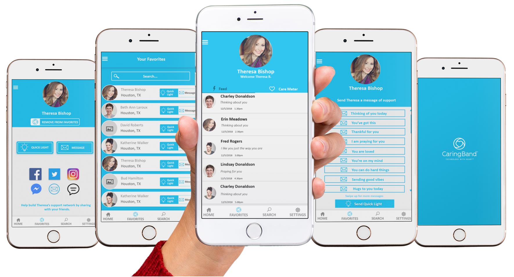 CaringBand App on Cell Phone